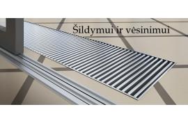 Konvektorius įleidžiamas į grindis VPA275/2800(su aliuminio grotelėmis ir ašiniu ventiliatoriumi)