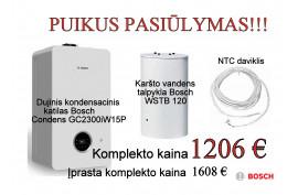 Dujinis kondensacinis katilas Bosch Condens GC2300iW15P+ WSTB120 talpykla ir NTC jutiklis (7736900901KLP)