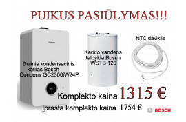 Dujinis kondensacinis katilas Bosch Condens GC2300iW24P+ WSTB120 talpykla ir NTC jutiklis (7736900903KLP)