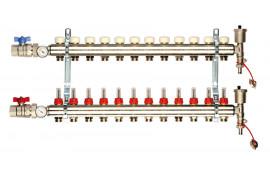 Reguliuojamas kolektorius 10 žiedų (su debitomačiu, automatiniu nuorintoju ir ventiliu) GENERAL FITTINGS