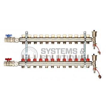 Reguliuojamas kolektorius 12 žiedų (su debitomačiais, aut. nuorintoju ir ventiliais) GENERAL FITTINGS