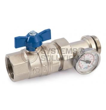 Ventilis trumpa rankena su termometru ir išardoma juntimi vid.-iš. 25 (mėlynas)