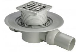 Trapas DN50/40, 100x100, vonios,horizontalus išleidimas , su nerūdijančio plieno grotelėm, Viega