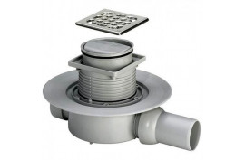 Trapas DN50/40, 100x100, horizontalus išleidimas,sausas,su nerūdijančio plieno grotelėm, Viega