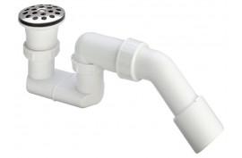 Sifonas dušo padėklui 11/2x40/50 (su ventyliu, grotelėm, 45° išleidimo alkūne)