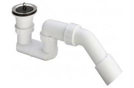 Sifonas dušo padėklui 11/2x40/50 (su ventyliu, kamščiu, 45° išleidimo alkūne)